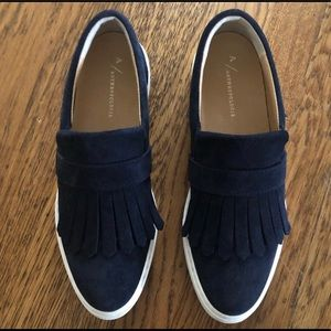 Anthropologie navy blue suede slip ons - size 39